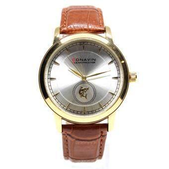 CONAVIN นาฬิกาข้อมือผู้ชาย เรือนทอง สายหนังแท้ ระบบ Quartz หน้าปัดคลาสสิค รุ่น CON-1166TG image
