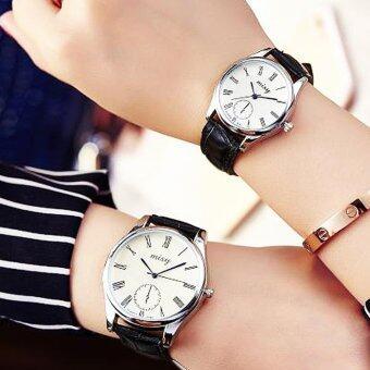 KATI watch 2 เรือนคู่ นาฬิกาคู่รัก นาฬิกาคู่ นาฬิกาข้อมืออนาล็อก สายหนังหน้าสีปัดกว้าง ตัวเลขโรมัน นาฬิกาแฟชั่นผู้ชาย/ผู้หญิง (w00104-white-black)