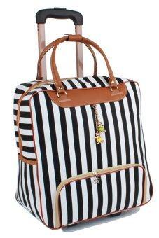 Beauty bag กระเป๋าเดินทางใบเล็ก กระเป๋าเดินทางล้อลาก กระเป๋าล้อลาก travel bag ลายทาง รุ่น LT-003 (สีขาว/ดำ)