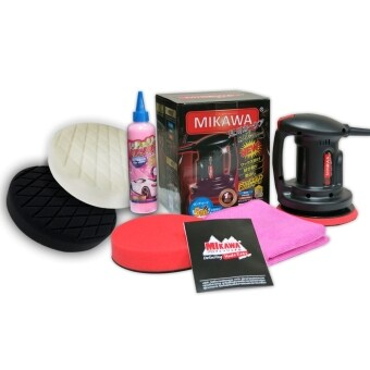 MIKAWA เครื่องขัดเคลือบสีรถ +น้ำยาเคลือบเงา Cherry Wax +ฟองน้ำขัดสีรถรุ่นพิเศษ 3 ชิ้น+ผ้าเกรดA (คละสี)