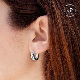 555jewelry เครื่องประดับผู้หญิง ต่างหูห่วง สแตนเลสสตีล ดีไซน์เรียบหรู ประดับ CZ รุ่น MNC-ER500-A (สีสตีลเงิน) (image 1)