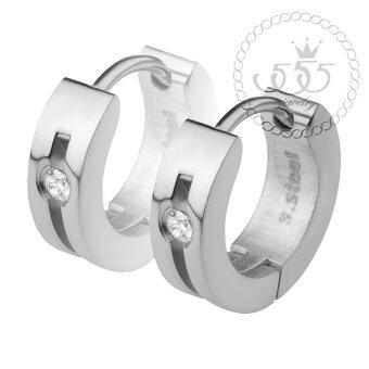 555jewelry เครื่องประดับผู้หญิง ต่างหูห่วง สแตนเลสสตีล ดีไซน์เรียบหรู ประดับ CZ รุ่น MNC-ER500-A (สีสตีลเงิน)