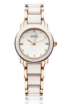Kimio นาฬิกาข้อมือผู้หญิง สาย Alloy รุ่น K455L - สีขาว/ทอง (แถมฟรี สร้อยคอพร้อมจี้ Butterfly Wing) (image 4)