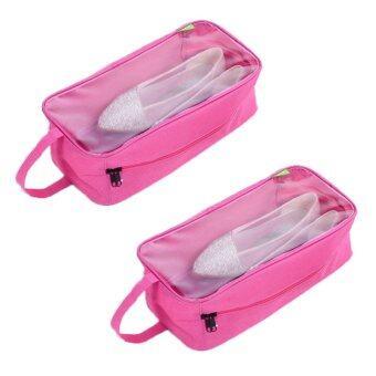TravelGeaer24 กระเป๋ารองเท้า 2 ใบ กระเป๋าใส่รองเท้า กระเป๋าใส่อุปกรณ์กีฬา กระเป๋ากีฬา Shoe Sport Bag - Pink/สีชมพู