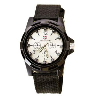 BEST นาฬิกาผู้ชาย สีดำ สายผ้า Military รุ่น WATCH