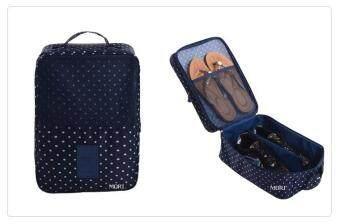 Mori กระเป๋าจัดระเบียบ กระเป๋าใส่รองเท้า ถุงใส่รองเท้า 3 คู่ Shoes Bag Shoes Organizer Bag Organizer (Navy Blue with white dot/ ลายจุดขาวพื้นน้ำเงิน)