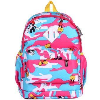 Hely TOP Kids Girls Mickey Mouse Camouflage Schoolbag Waterproof Cartoon Pupils Backpack (Pink) - Intl