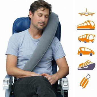 MOMMA 2 in 1 หมอนกำมะหยี่ หนุน กอด พกพา สีเทา ( 2 in 1 Gray The Travelrest Pillow Neck Pillow Inflatable Luxury )