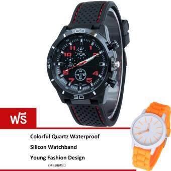 MEGA Sport Quartz Fashion F1 Racing Military Army Wristwatches หรูหรานาฬิกาข้อมือ สายหนัง กันน้ำ รุ่น MG0017 (Red)(ฟรี Colorful Quartz Waterproof Silicon Strap Young Fashion Watch)(Black)