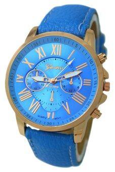 BlueLans เจนีวาเลขโรมันไฟนาฬิกาข้อมือหนังเทียม (สีน้ำเงิน)