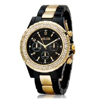 360WISH สตรีนาฬิกานาฬิกาข้อมือควอทซ์กันน้ำคริสตัลสีดำ ส่งออก