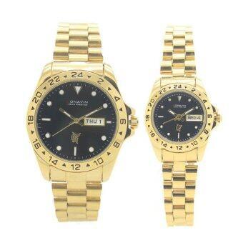 CONAVIN นาฬิกาข้อมือผู้ชาย,ผู้หญิง คู่รัก สายทอง เรือนทอง วันที่/สัปดาร์ รุ่น GTW-5677B image