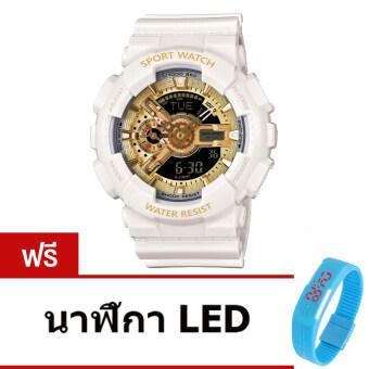 Wonderful story S SPORT นาฬิกาข้อมือ ใส่ได้ทั้งชายและหญิง กันน้ำได้-SP024 (WHITE/GOLD)แถมฟรี นาฬิกา LED ระบบสัมผัส (คละสี)