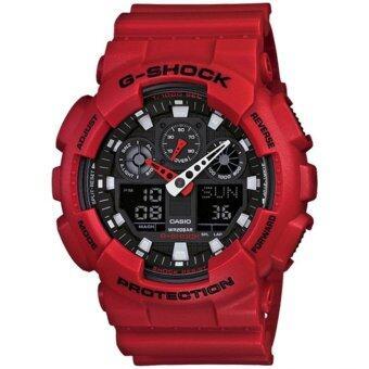 Casio G-Shock นาฬิกาข้อมือชาย สายเรซิ่น รุ่น GA-100B-4ADR - Red