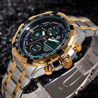นาฬิกาข้อมือ GOLDENHOUR GH03-SG-BLK นาฬิกาผู้ชายสายสเตนเลสสตีล