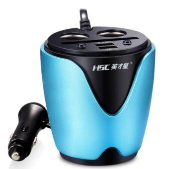 CAR Dual USB Charger HSC ช่องเสียบที่จุดบุหรี่ USB 2 ช่อง + ช่องจุดบุหรี่ 2 ช่อง DC 12-24V HSC-200 Dual USB + 2 Socket Cigarette