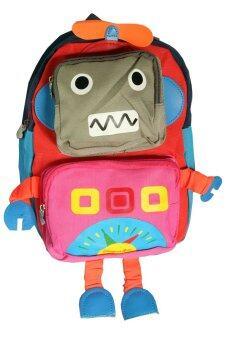 กระเป๋านักเรียน กระเป๋าเด็กอนุบาล รูปหุ่นยนต์ (สีชมพู)