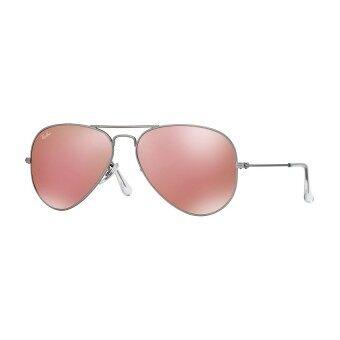 Ray-Ban แว่นกันแดด รุ่น Aviator Large Metal RB3025 - Matte Silver (019/Z2) Size 58 Brown Mirror Pink