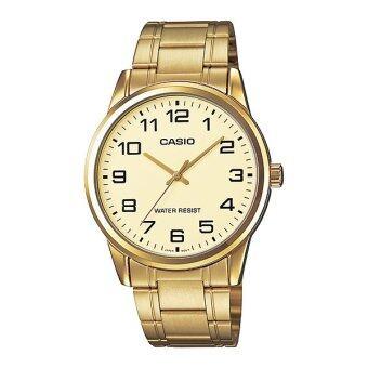 Casio Standard นาฬิกาข้อมือสุภาพบุรุษ สายสแตนเลส รุ่น MTP-V001G-9BUDF - Gold image