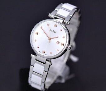 ALBA นาฬิกาข้อมือสุภาพสตรีAlbaรุ่นAH7H13X1-สีขาว