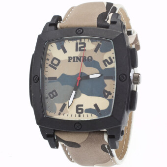 MEGA Quartz Waterproof Military Leather Watchband Sport Casual Wristwatch หรูหรานาฬิกาข้อมือ สายหนัง กันน้ำ รุ่น MG0019 (Brown)