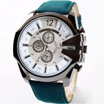 MEGA Luxury Quartz Waterproof Leather Watchband Outdoor Fashion Analog Wristwatch หรูหรานาฬิกาข้อมือ สายหนัง กันน้ำ รุ่น MG0018 (White/Green)