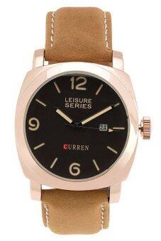 Curren นาฬิกาข้อมือสุภาพบุรุษ สายหนัง รุ่น CR M8185 BR RG (สีน้ำตาล/สีดำ/โรสโกลด์)