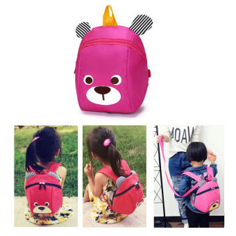 Kids Safety Harness Backpack Nursery Back Pack Purse Bags for Baby Boy Girl Travel-dark pink - intl