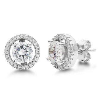 555jewelry Earrings ต่างหูผู้หญิง ประดับ CZ รุ่น MNC-ER535-A สี เงิน ต่างหูแฟชั่น ต่างหูสตั๊ด