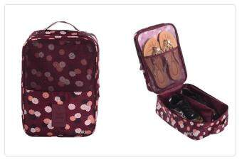 Mori กระเป๋าจัดระเบียบ กระเป๋าใส่รองเท้า ถุงใส่รองเท้า 3 คู่ Shoes Bag Shoes Organizer Bag Organizer (Red Flower/ ลายดอกไม้สีแดง)