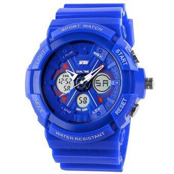 SKMEI นาฬิกาแฟชั่น กันน้ำ ดิจิตอล รุ่น 0966 สีน้ำเงิน Dual Time Sport Fashion Waterproof LED Digital Men Watch - Blue