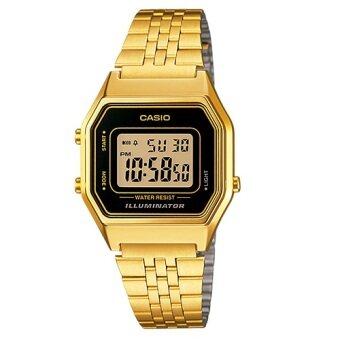 Casio นาฬิกาข้อมือ ดิจิตอล หญิงสาย-ตัวเรือน ทอง หน้าปัด ขอบดำ มีไฟ LED กันน้ำได้ รุ่่น LA680WGA-1DF (Gold)