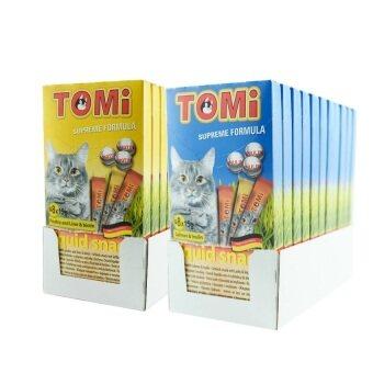 Tomi Liquid Snack โทมิ ขนมแมวเลีย รสแซลมอน 11 กล่อง รสไก่และตับ 11 กล่อง