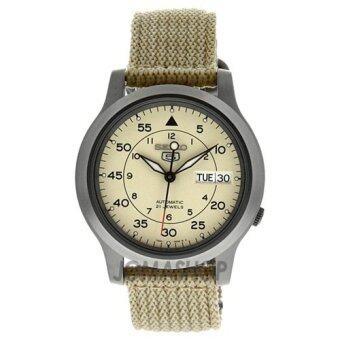 Seiko นาฬิกาข้อมือผู้ชาย สีเบจ สายผ้า รุ่น SEIKO 5 SNK803K2