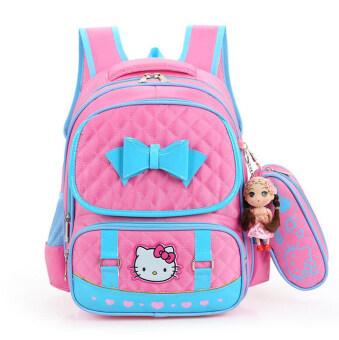 Hely TOP High-capacity Kids Girls Cartoon Schoolbag Waterproof Primary School Pupils Backpack with Pencil Bag (Pink) - Intl