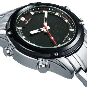 NAVIFORCE NF9050 Movt คู่ชาย Quarz นาฬิกาดิจิตอล Led คล้ายคลึงเงิน