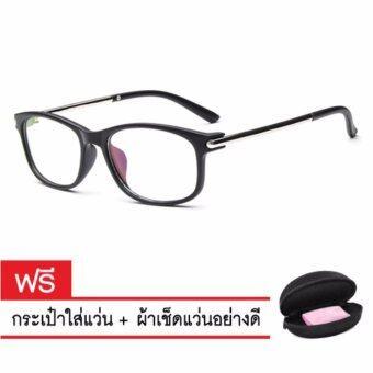 Lunar แว่นตากันแดด เลนส์ใส แว่นกัน แดดแว่นตาวินเทล แว่นตาเท่ๆ แว่นตาสวยๆ แว่นตาแฟชั่น ผู้หญิง ผู้ชายGlasses0020-blackดำ