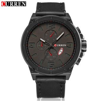 [100% จริง] นาฬิกายี่ห้อหรูเสื้อบุรุษนาฬิกาข้อมือนาฬิกาควอทซ์คนกีฬาทหาร Curren 8230 image