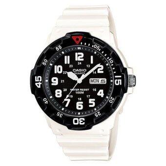 Casio Standard นาฬิกาข้อมือผู้ชาย สีขาว/ดำ สายเรซิน รุ่น MRW-200HC-7BVDF