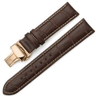 iStrap 22mm Genuine Leather Strap Butterfly Deployment Buckle Watch Band for Rose Gold Cases Brown image