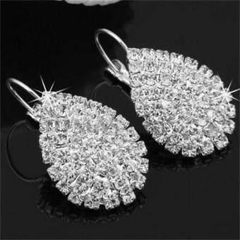 Fashion Delicate Silver Plated Ear Hook Crystal White Rhinestone Earring Jewelry - intl