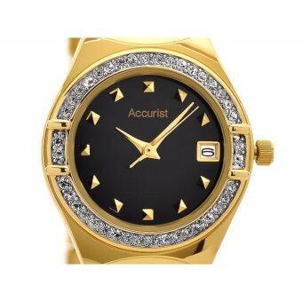 Accuirst นาฬิกาแสตนเลส ประดับคริสตัล สีทอง