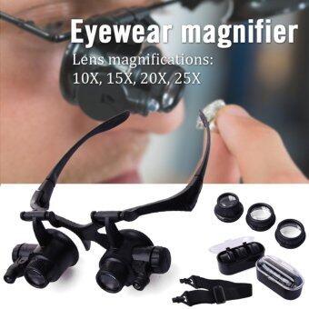 XCSourc แว่นตา แว่นขยาย 10X-25X อุปกรณ์สำหรับซ่อมนาฬิกา พร้อมหลอดไฟ LED