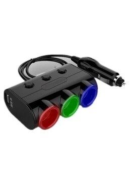 Olesson ตัวเพิ่มช่องจุดบุหรี่ในรถ 3 ช่อง USB 2 ช่อง (Black)