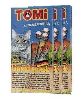 Tomi Liquid Snack โทมิ ขนมแมวเลีย รสแซลมอน+อินูลิน 3 กล่อง