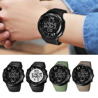 BUYINCOINS Men Sport Stainless Steel LED Digital Date Analog Military Wrist Watch(Black&White) - intl