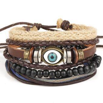 1Set 4pcs Hot retro multilayer bracelet eye eyeball adjustable bracelet jewelry hand-woven beaded bracelet - intl