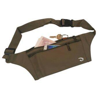 Lotte กระเป๋าคาดเอว แนบตัว กันน้ำ ซิปแข็งแรง 3 ช่อง - JA1002 (สีน้ำตาล อมเขียว เท่ๆ)