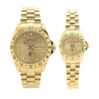 CONAVIN นาฬิกาข้อมือผู้ชาย,ผู้หญิง คู่รัก สายทอง เรือนทอง วันที่/สัปดาร์ รุ่น GTW-5679G image