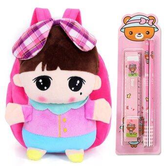 2 IN 1 Kids School Bag + Stationery Set Baby Girls Boys Cute Doll Backpack - intl